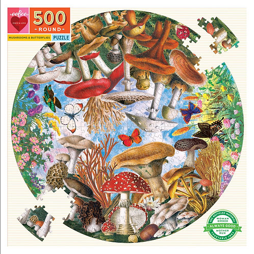 500 Piece Round Puzzle - Mushrooms
