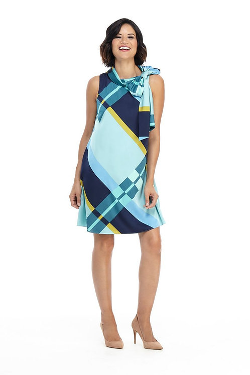 London Times Printed Printed Bow Neck Dress