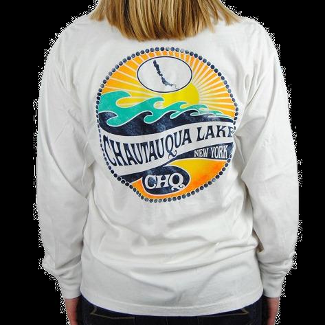 Chautauqua Lake Long Sleeve T-Shirt: Mojave Wave in White