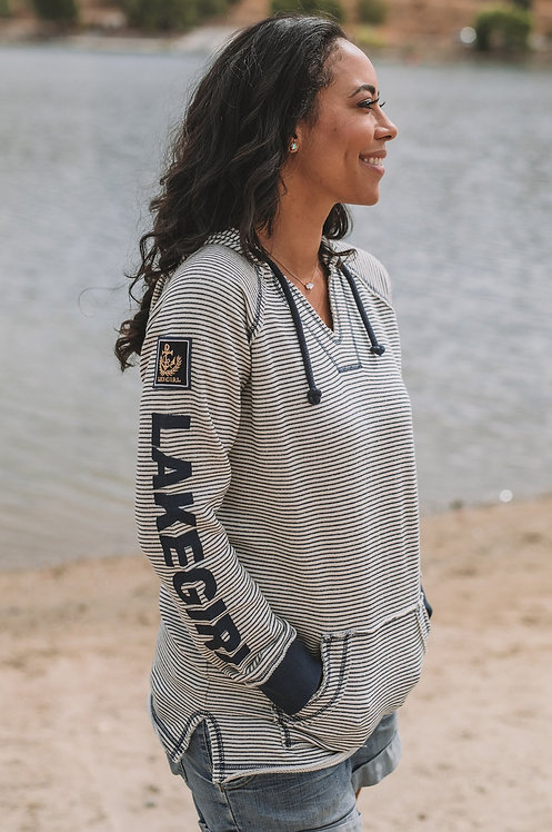 Lakegirl Navy Weekender Striped Hoodie