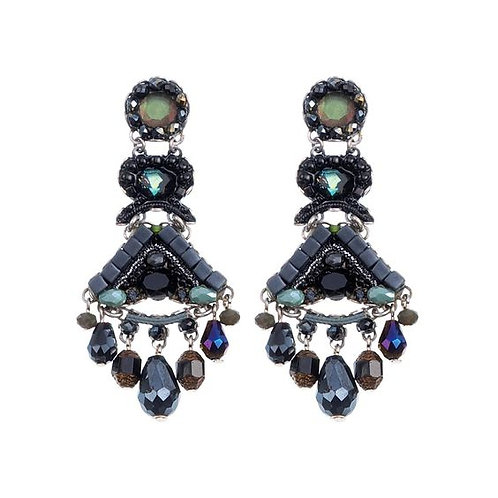 Fabric and Crystal Earrings - Midnight Voodoo