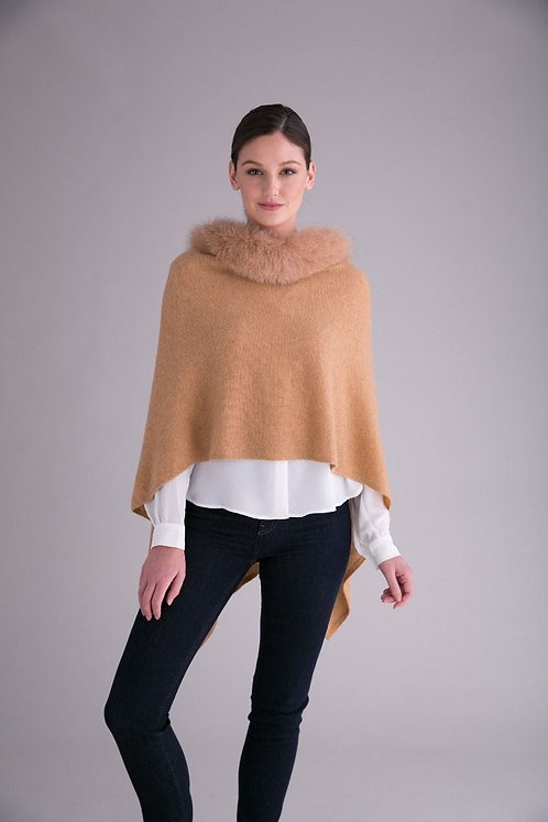 Cashmere Poncho with Trim in Blonde Camel