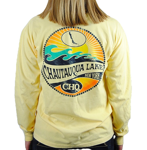 Chautauqua Lake Long Sleeve T-Shirt: Mojave Wave in Butter