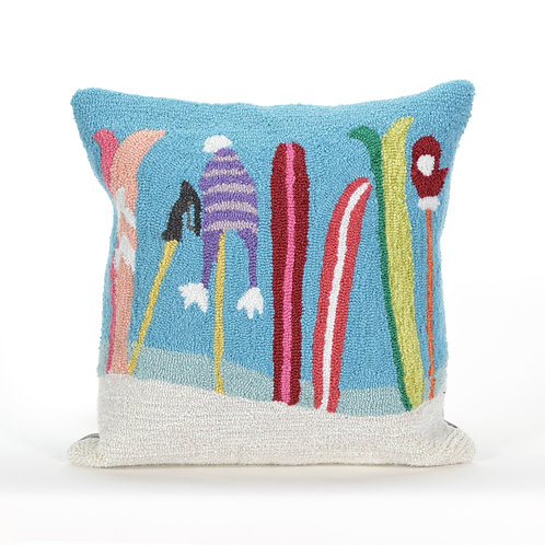 "Gone Skiing Pillow - 18"" x 18"""