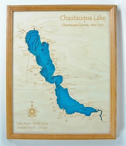 """24"""" x 30"""" Laser Cut Map - Chautauqua Lake in Oak Frame"""