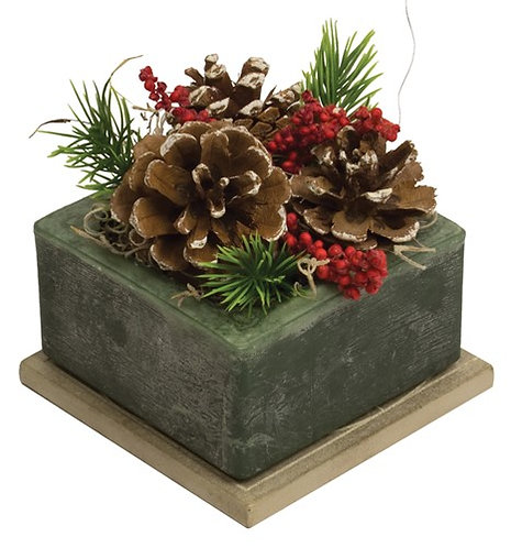 Flameless Geo Candle - Frosted Pine Cone