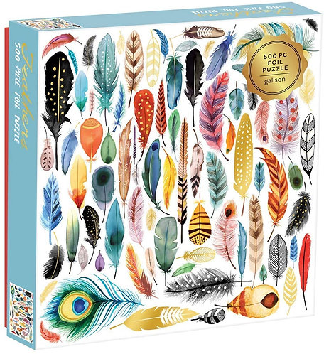 500 Piece Puzzle - Feathers with Gold Foil