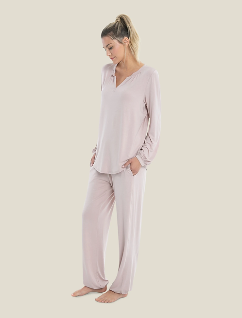 Barefoot Dreams Luxe Milk Jersey Lounge Set in Faded Rose