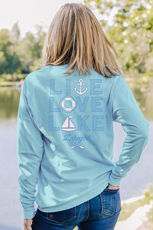 Lakegirl Live-Love-Lake Long Sleeve Tee in Blue Glow
