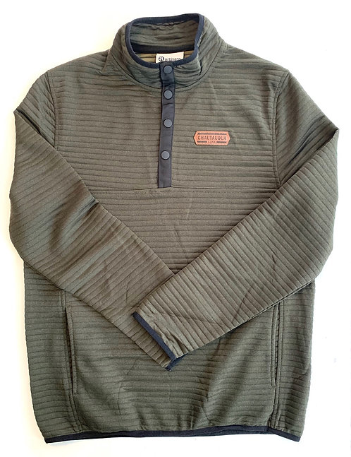 Chautauqua Lake Ribbed 1/4 Snap with Patch in Olive Green