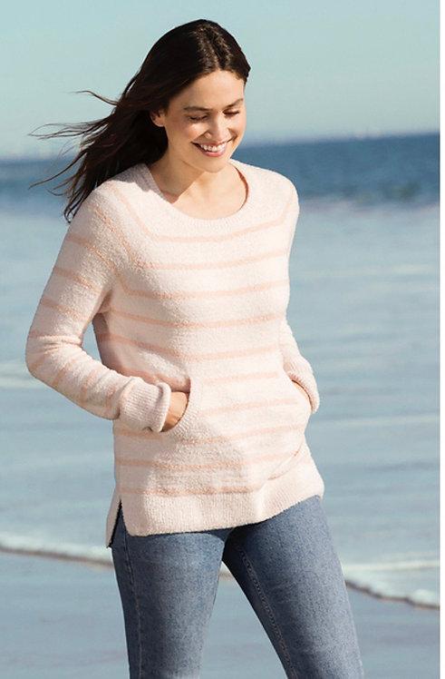 Barefoot Dreams Striped Raglan Pullover in Pink