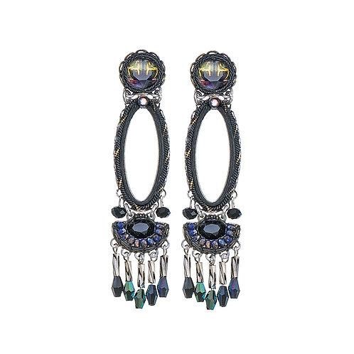Fabric and Crystal Earrings - Maui Rock
