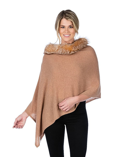 Cashmere Poncho with Trim in Camel