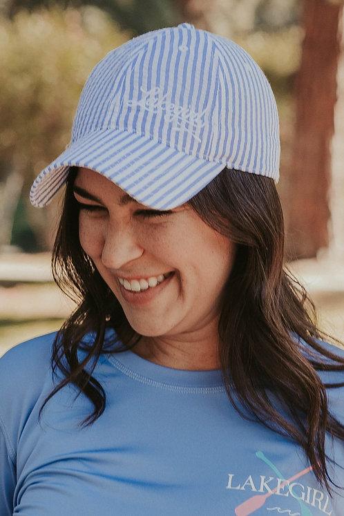 Lakegirl Seersucker Hat in Periwinkle