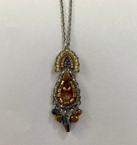 Fabric and Crystal Necklace - Golden Fog