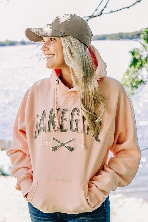 Lakegirl Sanded Fleece Paddles Hoodie in Shell Pink