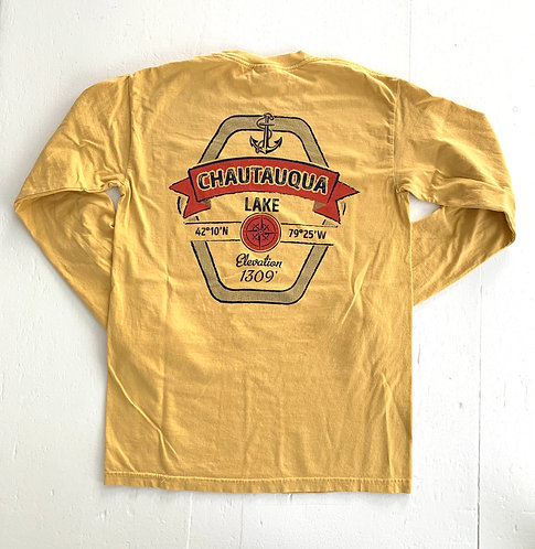 Chautauqua Lake Long Sleeve T-Shirt: Red Ribbon