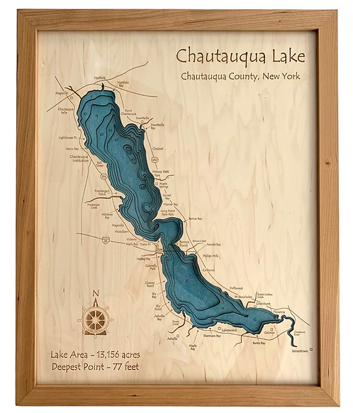 "16"" x 20"" Laser Cut Map - Chautauqua Lake in Cherry Frame"