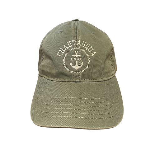 Chautauqua Lake Baseball Hat - Anchor in Circle in Sawgrass Green