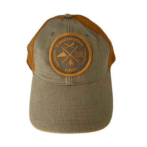 Chautauqua Lake Baseball Hat - Circular Patch with Outdoor Icons in Olive/Copper