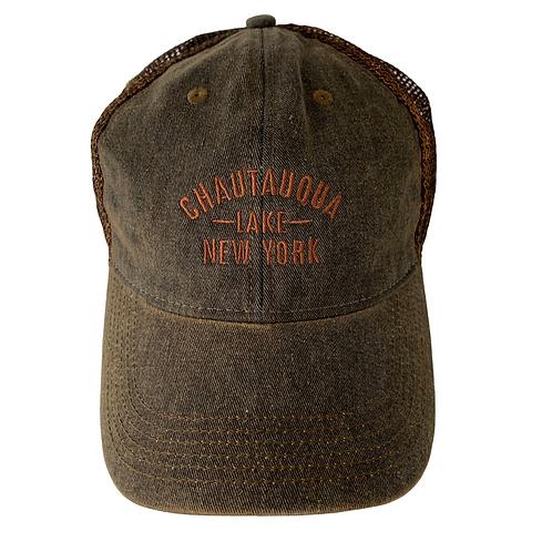 Chautauqua Lake Baseball Hat - Distressed Charcoal with Bronze Logo
