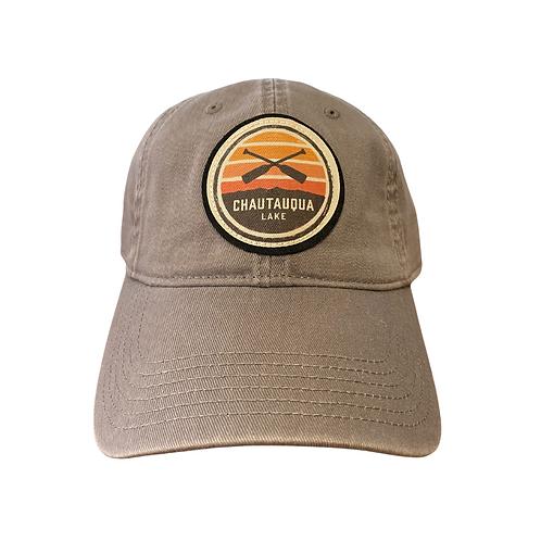 Chautauqua Lake Baseball Hat - Circular Patch with Crossed Oars in Grey