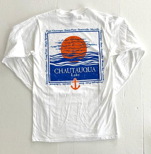 Chautauqua Lake Long Sleeve T-Shirt: Sun with List of Towns