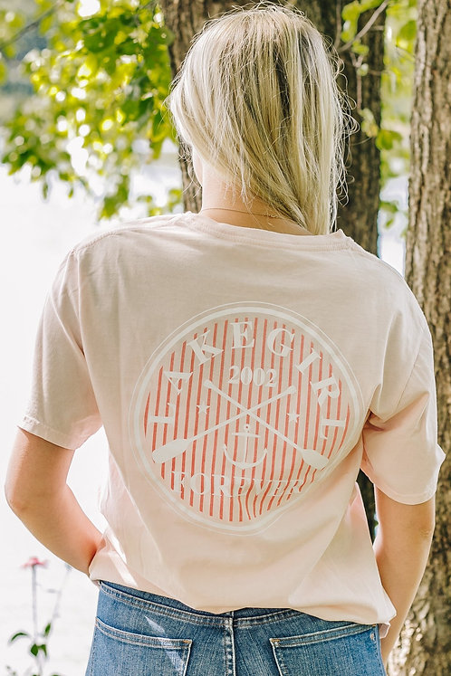 Lakegirl Paddles and Anchor Tee in Shell Pink