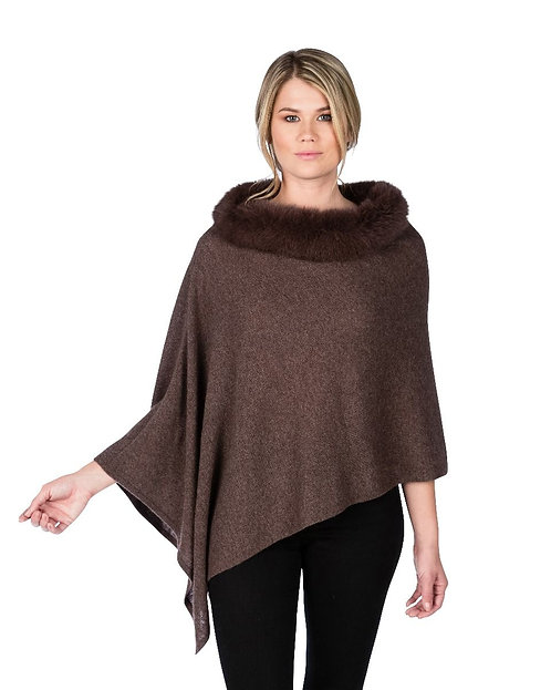 Cashmere Poncho with Trim in Boar