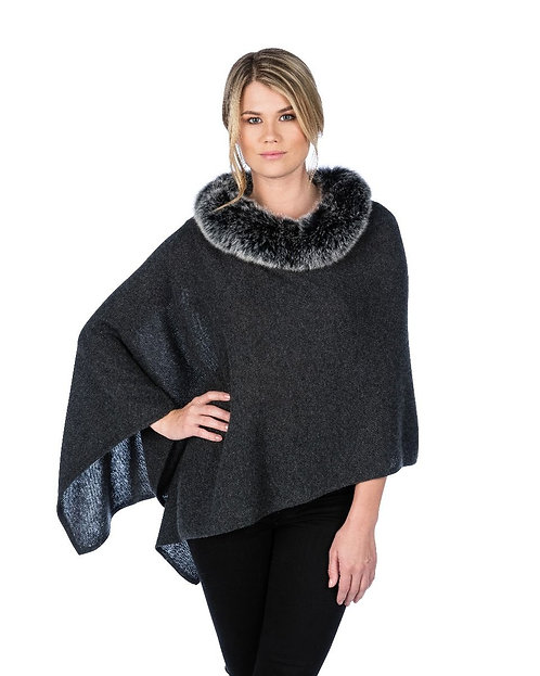 Cashmere Poncho with Trim in Charcoal