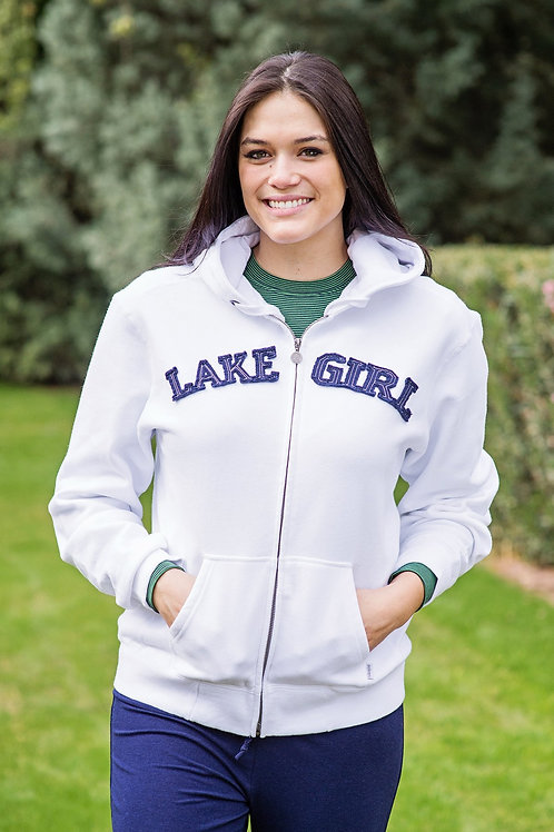 Lakegirl Full Zip Hoodie in White