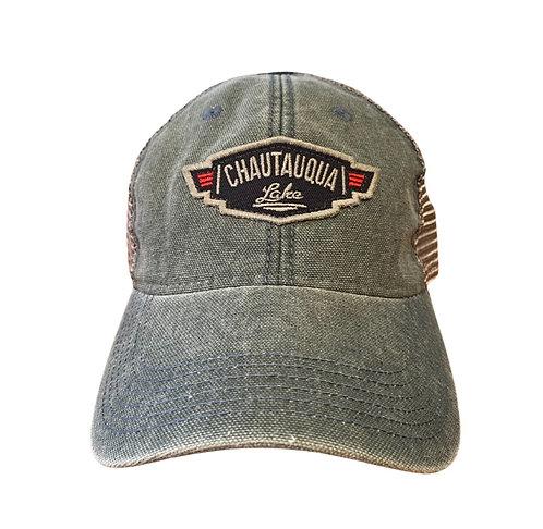 Chautauqua Lake Baseball Hat - Vintage Inspired Wing Logo in Steel Blue
