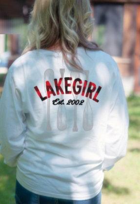 Lakegirl Plaid Paddles Long Sleeve Tee in White