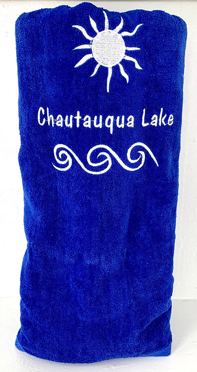Chautauqua Lake Beach Towel in Royal Blue