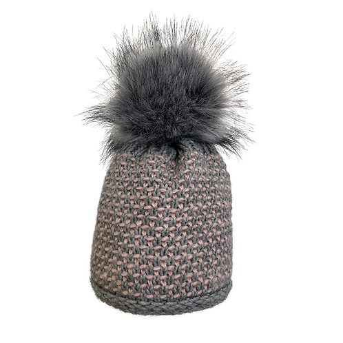 2-Tone Beanie with Lurex in Gray/Pink