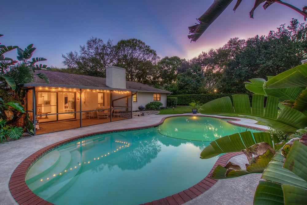 professional real estate photography house with pool