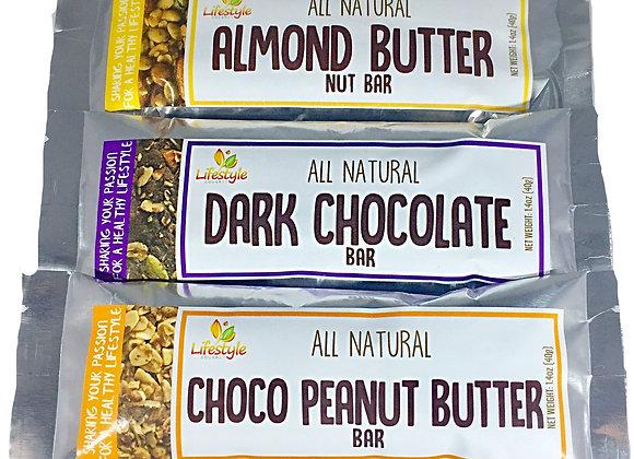 Dark Chocolate Nut Bar 40g, Chocolate Peanut Butter 40g, Almond Nut Bar 40g