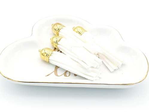 White Suede Gold-tone Tassel Large