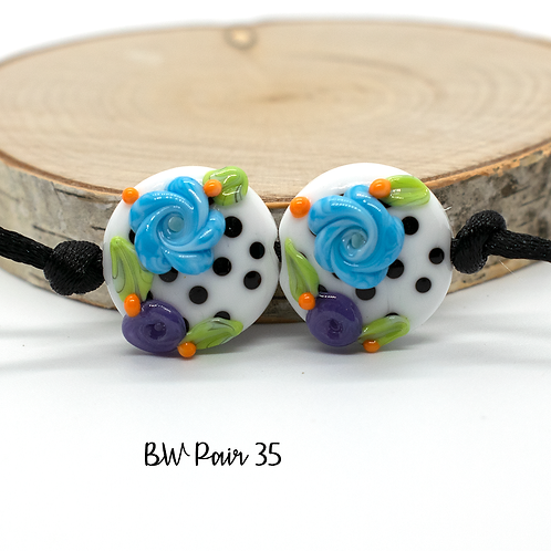 Floral Black & White Dotted Lampwork Bead Pair 35