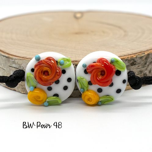 Floral Black & White Dotted Lampwork Bead Pair 48