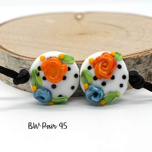 Floral Black & White Dotted Lampwork Bead Pair 45
