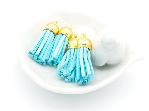 Aqua Suede Gold-tone Tassel Small