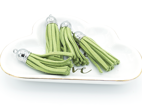 Chartreuse Suede Silver-tone Tassel Large