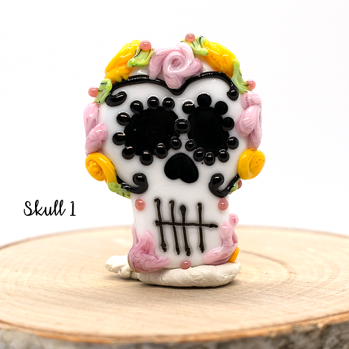 Día de los Muertos Skull Focal Bead Pink and Yellow Colored Crown1