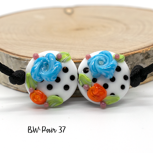 Floral Black & White Dotted Lampwork Bead Pair 37