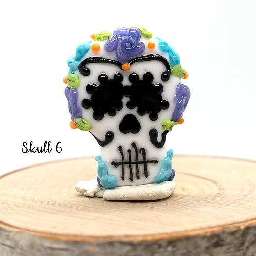 Día de los Muertos Skull Focal Bead Blue and Purple 6