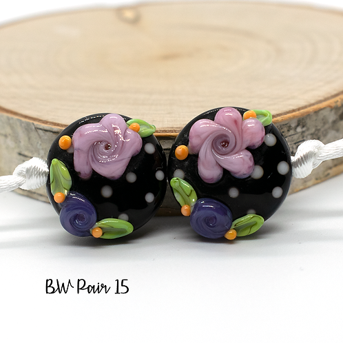 Floral Black & White Dotted Lampwork Bead Pair 15