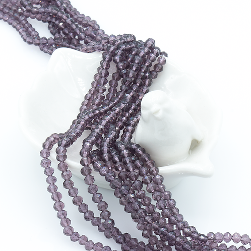 Grape Transparent Glass Faceted Rondelle Beads 3mm