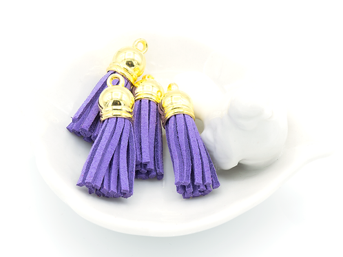 Purple Suede Gold-tone Tassel Small