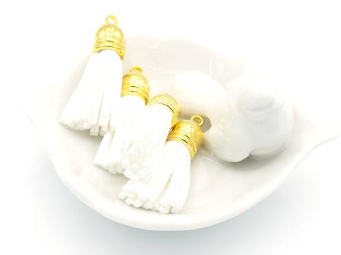 White Suede Gold-tone Tassel Small